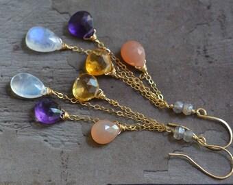 14kt Gold Mixed Stone Earrings - Amethyst Earrings - Moonstone Earrings - Citrine Earrings - Dainty Chain Earrings - Long Dangle Earrings