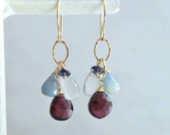 14kt Gold Red Garnet Earrings - Blue Sapphire Earrings - Mixed Stone Earrings - Gold Link Earrings Earrings - Gemstone Cluster Earrings