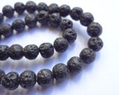 "6mm Round Natural Black Lava Rock Gemstone Beads - 15"" Strand"