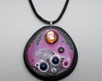HALF OFF SALE Unique Pendant Necklace, Polymer Clay in Purple, Pink and Graphite, Mokume Gane Technique with Vintage Glass Cabochon