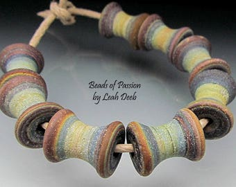 Glass Beads of Passion Leah Deeb Lampwork SRA - 8 Rustic Tie Dye Spools