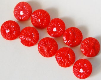 Vintage 1930s Coral Red Glass Buttons Set of 10 Molded Lot Supplies Pinkish Orangish