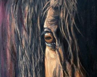 "Expressive Original Horse Eye Artwork of ""Graceful Gaze"""