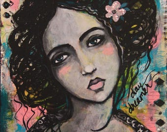 Reserved for Esther - She Was a Daydreamer - Original 9 x 12 inch Portrait Painting
