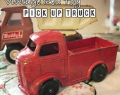 Little Red Pick Up Truck - Vintage 1940s  Metal Toy Truck - Milk Truck Maybe??