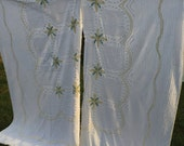 Vintage 2 Piece of a Vintage White and Yellow Floral Chenille Bedspread for Repurposing