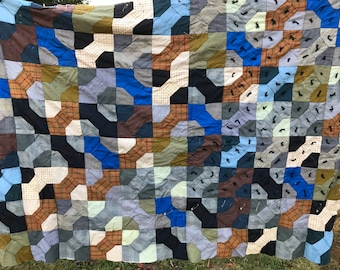 Vintage Bowtie Hand Tied Unfinished Quilt Project Piece