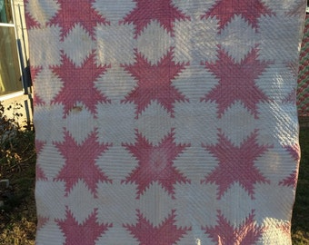 Vintage Hand Quilted Kentucky Made Pink and White Plaid Single Star Pattern Quilt