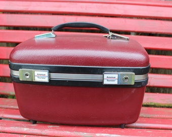 Vintage Maroon/Burgundy American Tourister Train Case/Overnight Suitcase Great for Repurposing