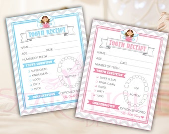 Tooth Fairy Receipt - Printable PDF - Instant Download