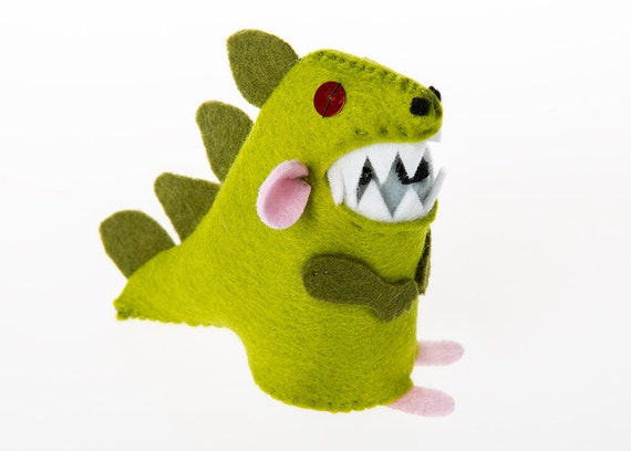 Rex the mouse in a dinosaur costume Mouseosaurus ornament artisan felt rat hamster mice cute gift for Dinovember fan dino mouse