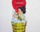 Vintage Unused Children's Novelty Valentine Greeting Card with Little Girl Washing in Bubble Bath Wooden Tub Soap