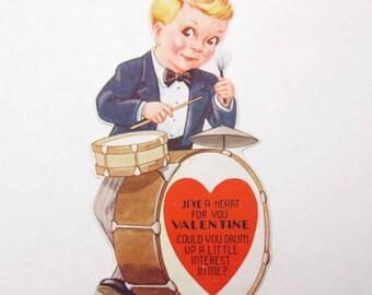 Vintage Children's Novelty Valentine Card with Cute Boy Playing Drum Drummer