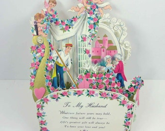 Vintage Fold Out Valentine Greeting Card with Victorian Couple Cupids, Roses and Gondola by Hallmark