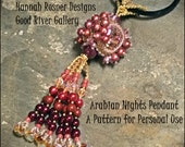 Bead Tutorial Arabian Nights peyote stitch Pendant Seed Bead pattern instructions by Hannah Rosner