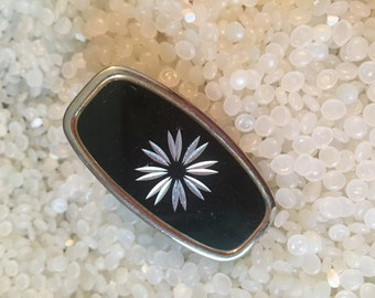 Vintage lipstick holder with compact mirror,black with silver etched flower