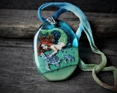 RESERVED for Sharon Amazing Mermaid and sea turtle in the sea  - fused glass pendant - mermaid nekclace - sea turtle jewelry
