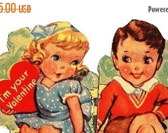 On Sale Boy & Girl Valentine Card, Greeting, Valentine Card, I'm your Valentine, I never would say NO Sir, if you'd sit a little closer