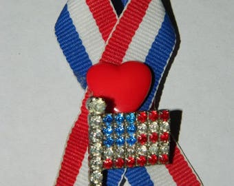 Patriotic Brooch, Pin, Vintage Rhinestone Flag Pin, Red, White & Blue Ribbon, Heart, Patriotic, US Military, July 4th