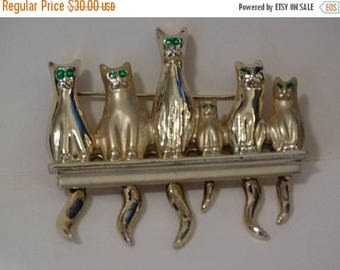 1980's Rhinestone Green Eyed Cats on a Fence Kitten, Cat, Feline Brooch, Cat Pin, Meow, Kitty Kat Jewelry, Kittens on a Fence