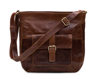 Leather Cross Body Messenger Bag, Vintage Brown