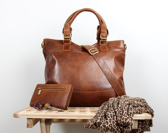 Leather Purse, Tan Distressed Leather Tote