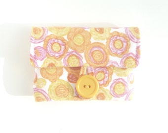 cute earbud pouch. case for rosary. cute pouch. yellow pink spring flowers small fabric padded ear bud case