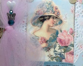 Lovely Set Of Rachel Ashwell Note Cards In An Altered Folder, Set Of 10 Victorian Note Cards, Altered Binder