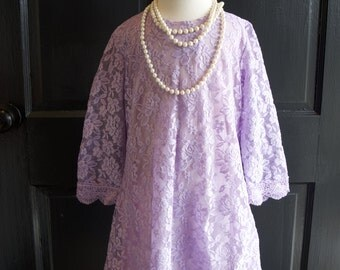 Lilac Lavender Lace Flower Girl Dress Wedding Bridesmaid