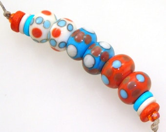 Handmade Lampwork Glass Beads - 3 pairs. Stacked dots on ivory, turquoise & coral. Southwest colors, Southwestern, earring pairs.