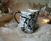 chintz floral 'peony' vintage royal winton grimwades cream pitcher, diamond shape, dramatic black & cream / white pattern, hard to find
