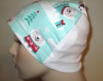 Mint Green Polar Bears Chemo Flannel Sleep Cap, Cancer Hat, Alopecia,Small Hearts