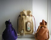 RESERVED/reserved...RUNNING with DEER, 3 Medicine Bags, deerskin leather, deer antler, turquoise