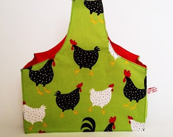Karrie knitting and crochet project wrist bag. Chicken and egg print fabric UK Seller