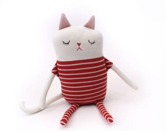 "Cat Sleepy Kitty in Pajamas ""Peppa"" Cotton Monster Plush"