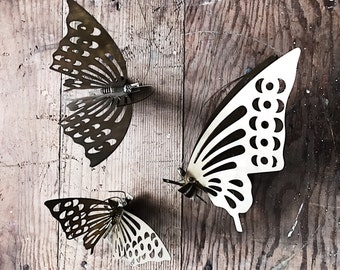 Vintage Set Brass Butterflies - wall art, 3d