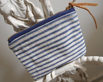 Recycled ticking stripe utility pouch, zipper wallet - antique indigo canvas - eco vintage fabrics