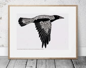 Australian Magpie Poster, Australian Native Bird Illustration