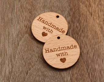 """8 pieces of """"Handmade with Love"""" Wood Pendant Charm, Carved, Engraved Tag  (WC 034)"""