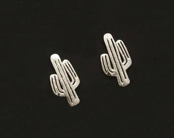 Cactus Silvery Stud Earring Post Finding (ET069B)