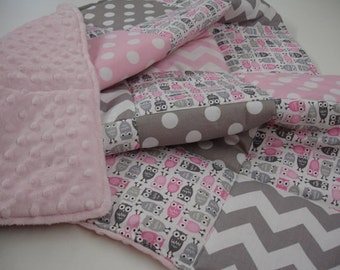 Owl Medley Pink and Gray Chevron and Dots Minky Patchwork Blanket You Choose Size and Minky Color MADE TO ORDER No Batting