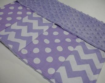 Lavender Chevron and Dots Minky Burp Cloth 16 x 17 READY TO SHIP