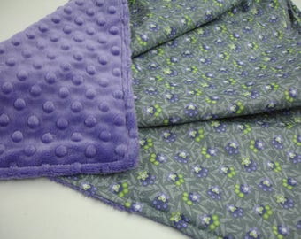 Daisy Chain Purple Gray and Lime Lovey Minky Blanket 21 x 21 READY TO SHIP On Sale