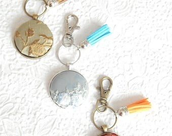 Embroidered key ring, key fob, tassel ring, orange keyring, blue bridesmaid gift, handbag accessory