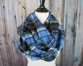 Blue Plaid Flannel Scarf - Blue Plaid Infinity Scarf - Plaid Infinity Scarf - Winter Scarf - Women's Scarf - Gift For Her