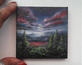 "Mini Oil Painting Moonlit Landscape 3""x 3"" READY to SHIP"