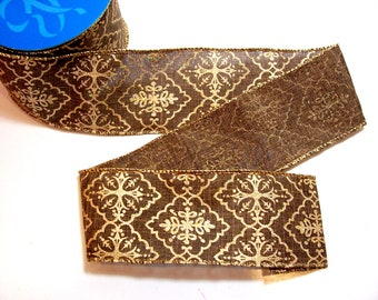 Brown Ribbon, Glitter Wired Fabric Ribbon 2 1/2 inches wide x 10 yards, Full Bolt of Offray Momence Ribbon