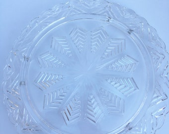 SALE Glass Cake Plate
