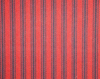 Red And Navy Ticking Stripe Fabric | Stripe Fabric | Cotton Ticking Fabric |  Home Decor Ticking Fabric | 54 Inches Wide | 1 Yard