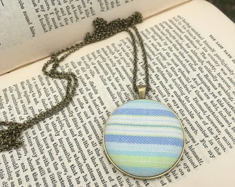 Striped green and blue fabric pendant
